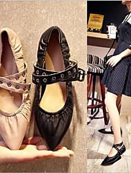 Недорогие -Жен. Обувь Искусственное волокно Весна / Осень Удобная обувь Сандалии На плоской подошве Черный / Телесный