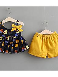 cheap -Baby Girls' Print Peplum / Bow Sleeveless Clothing Set