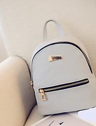 baratos -Mulheres Bolsas PU Leather mochila Ziper Geométrica Preto / Rosa / Cinzento