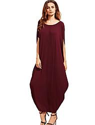 abordables -Femme Basique Tee Shirt Robe Couleur Pleine Maxi