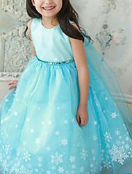 Недорогие -Дети Девочки С цветами Цветочный принт С короткими рукавами Полиэстер Платье Синий
