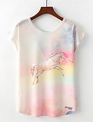 abordables -Tee-shirt Femme, Arc-en-ciel Animal Actif