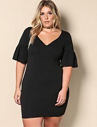 cheap -Women's Slim Little Black Dress - Solid Colored V Neck
