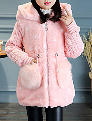 cheap -Girls' Color Block Jacket & Coat, Rabbit Fur Cotton Acrylic Long Sleeves Casual White Red Blushing Pink Khaki