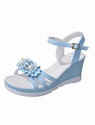 preiswerte -Damen Schuhe PU Frühling Sommer Komfort Sandalen Blockabsatz Spitze Zehe für Normal Kleid Weiß Blau