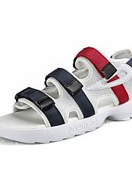 Недорогие -Жен. Обувь Тюль / Полиуретан Лето Удобная обувь / Вулканизованная обувь Сандалии На плоской подошве Белый / Черный