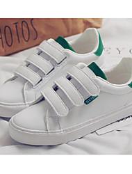 baratos -Mulheres Sapatos Micofibra Sintética PU Primavera Outono Conforto Tênis Salto Baixo para Casual Rosa e Branco Branco/Preto Branco e Verde