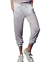 cheap -Women's Drawstring / Wide Leg Running Pants - White, Black Sports Grid / Plaid Spandex Pants / Trousers Yoga, Fitness, Gym Plus Size Activewear Fast Dry, Butt Lift