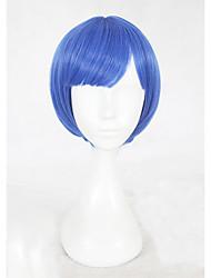 abordables -Pelucas sintéticas Recto Corte Bob Pelo sintético Entradas Naturales Azul Peluca Mujer Corta Sin Tapa