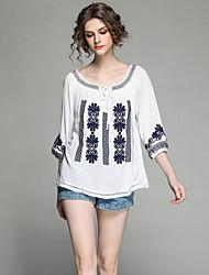 baratos -Mulheres Camisa Social Vintage Moda de Rua Bordado, Floral