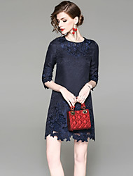abordables -Mujer Básico Línea A Vestido - Bordado, Un Color Sobre la rodilla