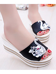 cheap -Women's Shoes Fabric Summer Comfort Slippers & Flip-Flops Creepers White / Black