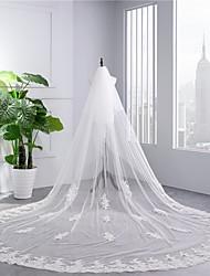 baratos -Duas Camadas De Renda Véus de Noiva Véu Capela Com Bordado Tule