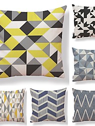 cheap -6 pcs Textile Cotton/Linen Pillow case Pillow Cover, Lines / Waves Grid/Plaid Patterns Contemporary Geometric High Quality