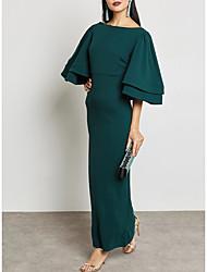 baratos -Mulheres Sofisticado Moda de Rua Tubinho Reto Bainha Vestido Sólido Longo