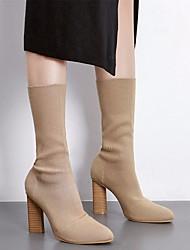 baratos -Mulheres Sapatos Tricô Cetim Elástico Outono Inverno Botas da Moda Conforto Botas Salto Robusto Botas Cano Médio para Preto Amêndoa