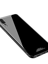 Недорогие -Кейс для Назначение Huawei P20 lite P20 IMD Зеркальная поверхность Кейс на заднюю панель Однотонный Твердый Закаленное стекло для Huawei