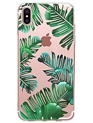 baratos -Capinha Para Apple iPhone X iPhone 8 Estampada Capa traseira Plantas Macia TPU para iPhone X iPhone 8 Plus iPhone 8 iPhone 7 Plus iPhone