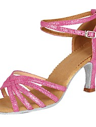 cheap -Women's Latin Shoes Patent Leather / Faux Suede Sandal / Heel Buckle Chunky Heel Customizable Dance Shoes Pink