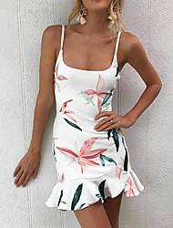 baratos -Mulheres Para Noite Básico Moda de Rua Skinny Tubinho Bainha Vestido - Frente Única, Floral Com Alças Acima do Joelho Branco
