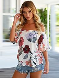 baratos -Mulheres Blusa Fofo Moda de Rua Frente Única, Floral