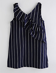 cheap -Girl's Daily Striped Dress Summer Sleeveless Cute Basic Royal Blue