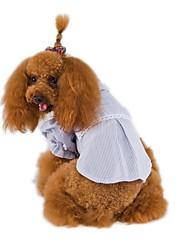 Недорогие -Животные Рубашка Одежда для собак Однотонный Полоски Английский Синий Розовый Хлопок Джинсы Костюм Для домашних животных Принцесса Мода