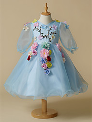 cheap -A-Line Short / Mini Flower Girl Dress - Organza Long Sleeves V Neck with Flower by LAN TING BRIDE®