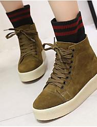 Недорогие -Жен. Обувь Кожа Зима Удобная обувь Ботинки На плоской подошве Черный / Бежевый / Военно-зеленный