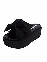 cheap -Women's Shoes Fabric Summer Comfort Slippers & Flip-Flops Wedge Heel Round Toe Bowknot for Casual Black Green Pink