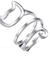 Недорогие -Жен. манжета кольцо обернуть кольцо Сплав Кошка Дамы Классика Мода Модные кольца Бижутерия Золотой / Серебряный Назначение Повседневные Регулируется