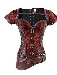 abordables -Cosplay Steampunk Costume Femme Corset Rouge Vintage Cosplay Polyester Manches Courtes Mancheron