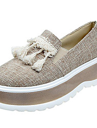 povoljno -Žene Cipele Tkanina Ljeto Udobne cipele Ravne cipele Creepersice za Kauzalni Crn Badem