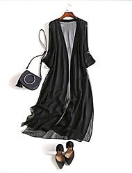 economico -Cappotto Per donna Per uscire Moda città - Tinta unita Seta