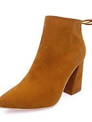 Недорогие -Жен. Обувь Полиуретан Осень / Зима Ботильоны Ботинки На толстом каблуке Заостренный носок Ботинки Черный / Желтый