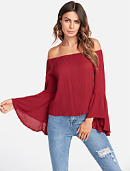 cheap -TS - Dreamy Land Women's Holiday Cute Active Blouse - Solid Colored Off Shoulder Sweetheart
