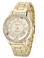 abordables -Femme Quartz Montre Bracelet Chinois Grand Cadran Imitation de diamant Alliage Bande Elégant Mode Argent Doré Or Rose