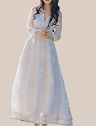 Недорогие -Жен. Праздники С летящей юбкой Платье - Однотонный, Кружева V-образный вырез Макси / Лето