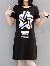abordables -Femme Grandes Tailles Coton Mince Tee Shirt Robe - Imprimé, Couleur Pleine / Géométrique / Lettre Au dessus du genou