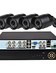 cheap -4 CH Security System with 1080N AHD DVR 4pcs 1.0MP Weatherproof Cameras with Night Vision