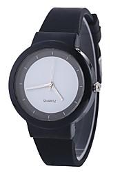 baratos -Mulheres Relógio de Moda Chinês Mostrador Grande Silicone Banda Fashion / Minimalista Preta / Branco / Azul / Um ano