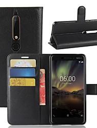 Недорогие -Кейс для Назначение Nokia Nokia 7 Plus Nokia 6 2018 Бумажник для карт Кошелек Флип Магнитный Чехол Однотонный Твердый Кожа PU для Nokia 9