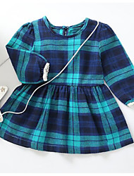 cheap -Baby Girls' Blue & White Striped Long Sleeves Dress