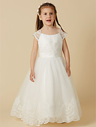 cheap -A-Line Floor Length Flower Girl Dress - Lace / Tulle Short Sleeve Scoop Neck with Buttons / Sash / Ribbon by LAN TING BRIDE®