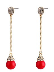 abordables -Femme Adorable Zircon / Perle Perle / Zircon Boucles d'oreille goutte - Large / Doux Rouge Forme de Cercle / Forme de Ligne Des boucles
