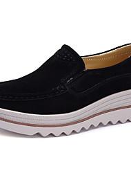 abordables -Femme Chaussures Cuir Printemps Automne Confort Mocassins et Chaussons+D6148 Hauteur de semelle compensée Bout rond pour Noir Gris Rouge