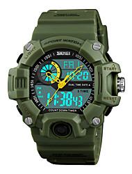Недорогие -SKMEI Муж. Спортивные часы Японский Цифровой Стеганная ПУ кожа Черный / Зеленый 50 m Защита от влаги Будильник Секундомер Аналого-цифровые На каждый день Мода - Красный Зеленый Синий / Один год