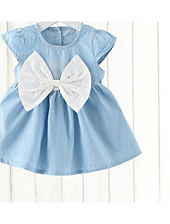cheap -baby girl's daily solid colored dress, cotton summer cute sleeveless blushing pink white 120 110 100 90