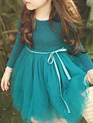 baratos -Menina de Vestido Sólido Todas as Estações Algodão Manga Longa Laço De Renda Verde Rosa