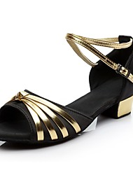 abordables -Femme Chaussures Latines Soie Talon Talon Bas Personnalisables Chaussures de danse Noir et Or / Intérieur / Entraînement